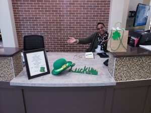 Receptionist at St. Patrick's Day Party