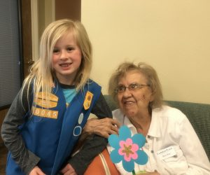 Local Girl Scout with Canfield Place Resident