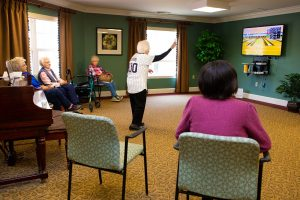 103 Year Resident Plays Wii Bowling at Village at Unity