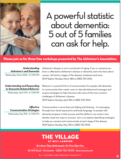 The Village at Mill Landing Dementia Caregiving Workshops