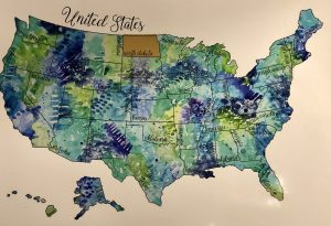 Scratch off map of the United States