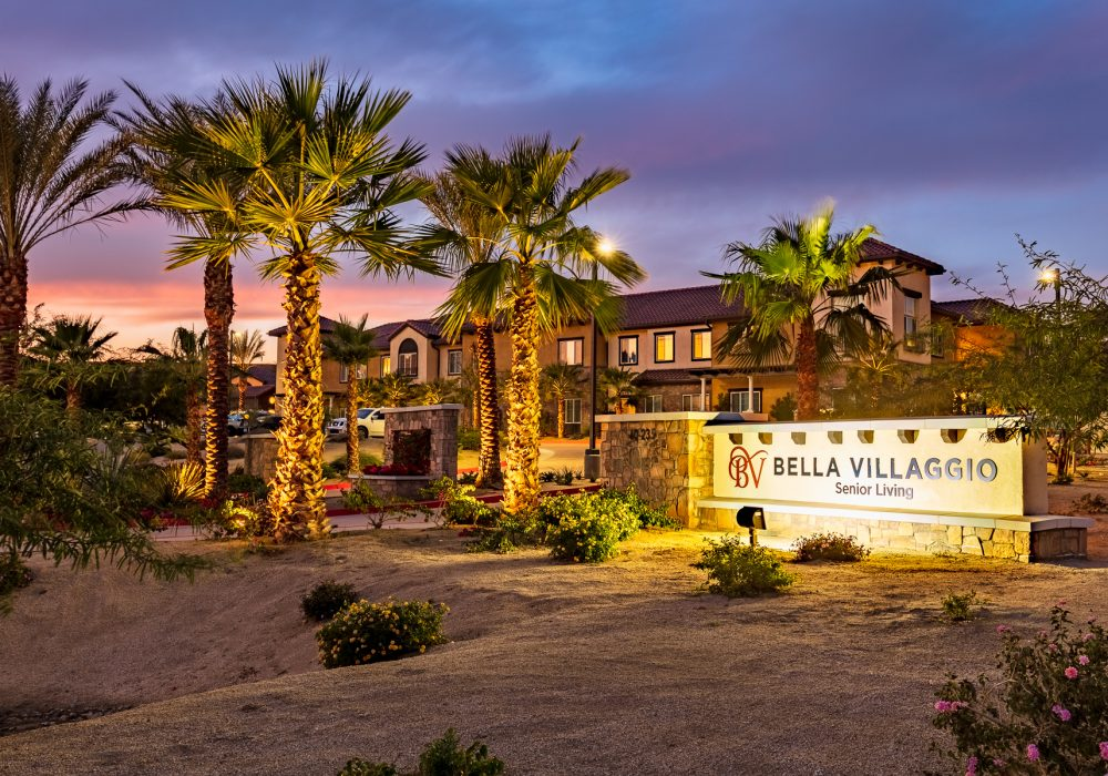 Exterior welcome sign at Bella Villaggio
