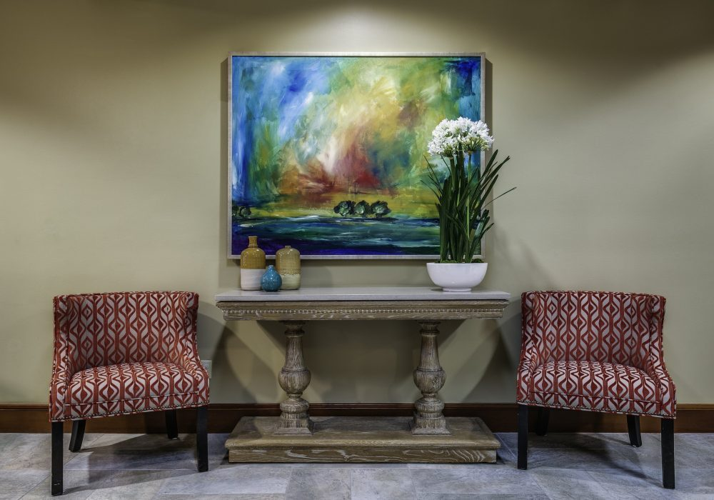 Seating Area with Painting - Fairwinds - Brittany Park Retirement Community