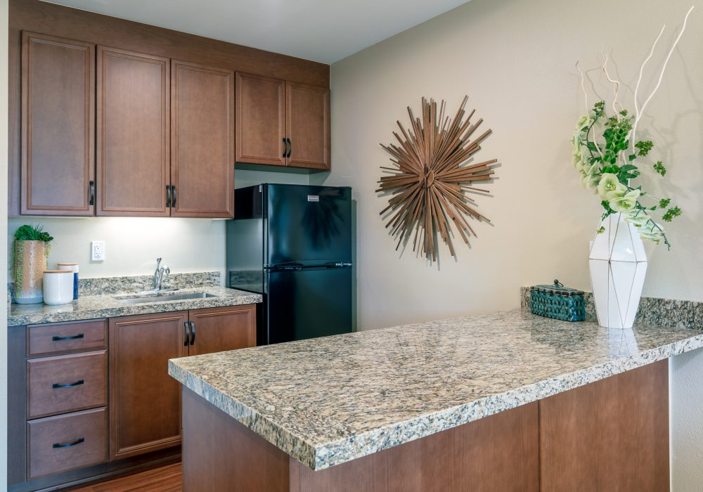 Kitchenette in one bedroom apartment at Bella Villaggio
