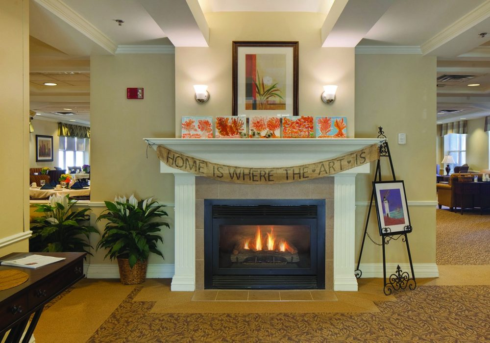 Lobby at The Linden at Danvers Assisted Living