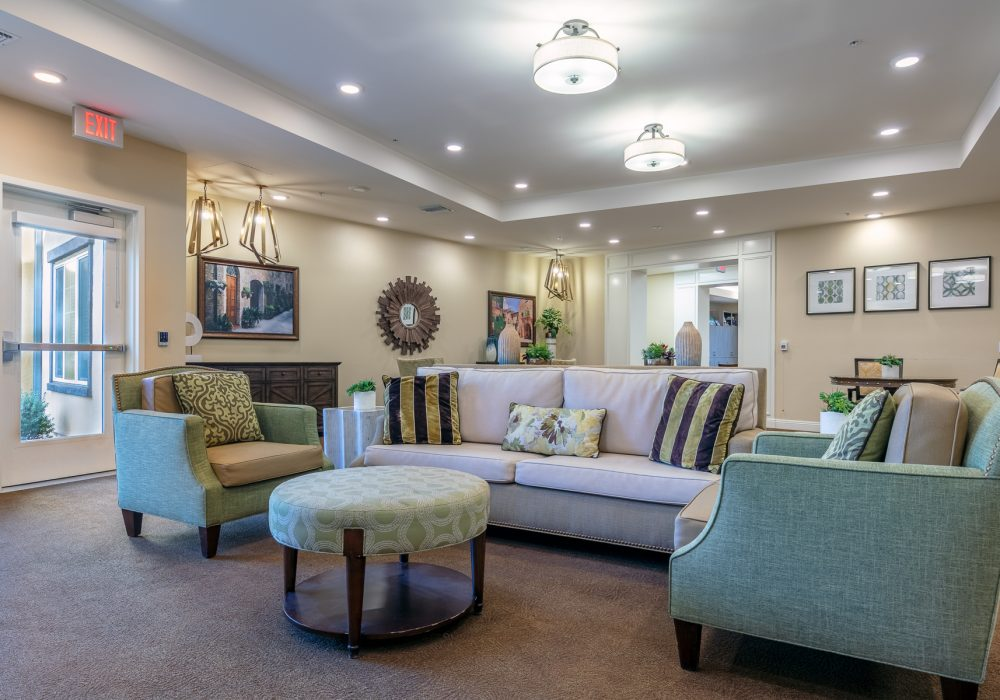 Memory care living room at Bella Villaggio