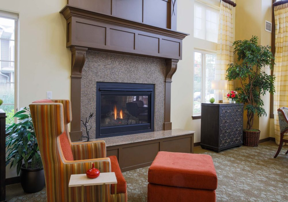 Lobby Fireplace at The Village at Mill Landing