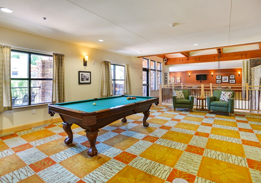 Billiards Hall - The Carillon at Boulder Creek Senior Living