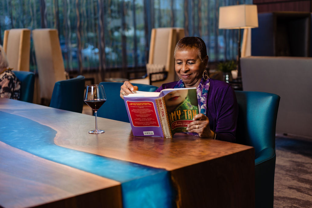 Relax with a good book and a full glass