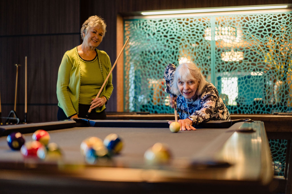 residents playing pool